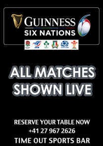 Time Out Sportsbar - Rugby Six Nations 2019